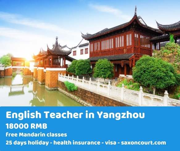 Teach English in Yangzhou + free Chinese lessons