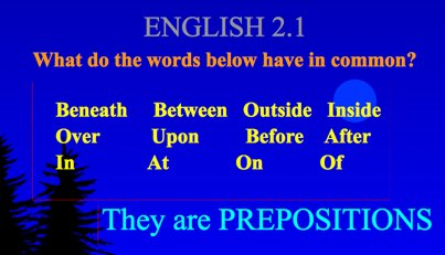 Introduction to Prepositions and Prepositional Phrases